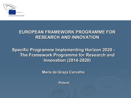 The Framework Programme for Research and Innovation (2014