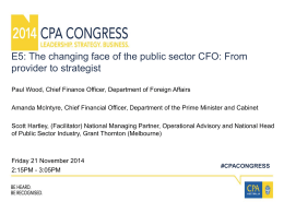 E5: The changing face of the public sector CFO