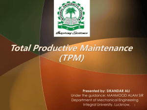 Introduction to Total Productive Maintenance (TPM)