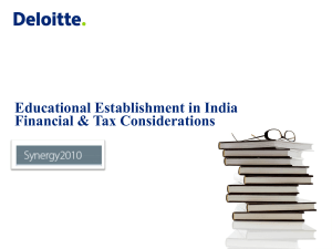 Educational Establishment in India Financial & Tax Considerations