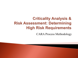 Criticality Analysis & Risk Assessment