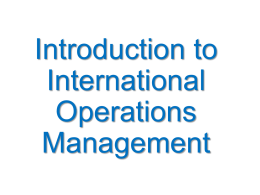 Canel International Operations Management