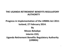 Progress in the Implementation of the URBRA Act 2011