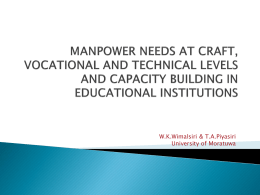 manpower needs at craft, vocational and technical level