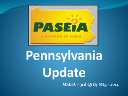 PASEIA Update presentation at Quarterly Meeting July 30