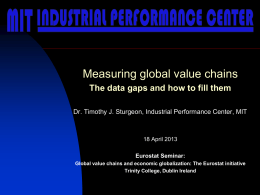the data gaps and how to fill them. Presentation by Timothy Sturgeon