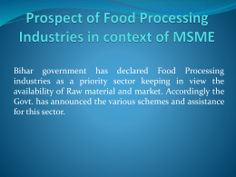 Prospect of Food Processing Industries in context of