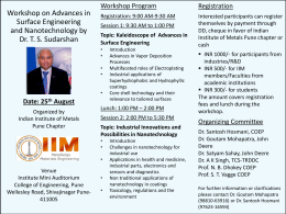 Dr Sudarshan_Workshop_Flyer - Indian Institute of Metals Pune