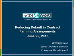 Reducing Default in Contract Farming Arrangements