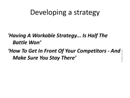 Developing a strategy