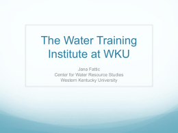The Water Training Institute at WKU