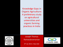 Knowledge Gaps in Organic Agriculture: A preliminary study