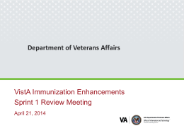 VIMM Immunization Enhancements Sprint 1 Review