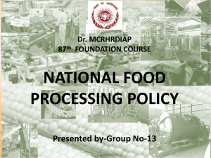 NATIONAL FOOD PROCESSING POLICY