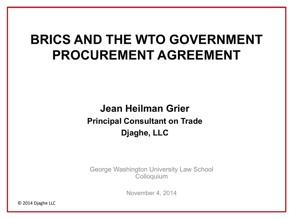 Brics And The Wto Government Procurement Agreement