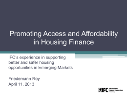 Dr. Friedemann Roy, Global Product Lead, IFC Housing Finance