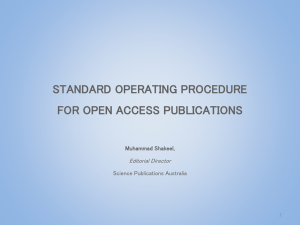 Standard Operating Procedure for Open Access Journals