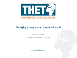 THET-Managing a programme of work in Zambia