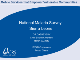 Mobile malaria surveys - CRS Technical Resources