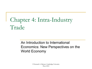 Chapter 4: Intra-Industry Trade. - An Introduction to International
