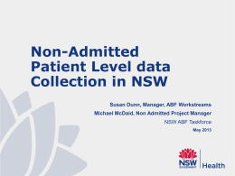 non-admitted patient level data collection in NSW