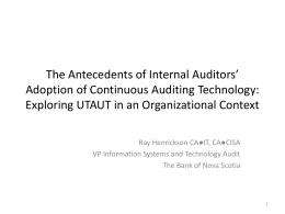 The Antecedents of Internal Auditors* Adoption of