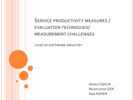 PRODUCTIVITY IN SERVICE SECTOR