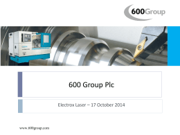 Investor visit to Electrox Laser - 17 October 2014