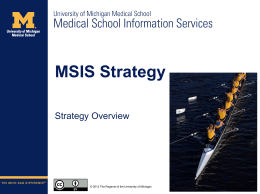 MSIS Strategy Roadshow Presentation