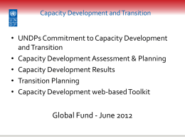 Presentation on Capacity Development and Transition in