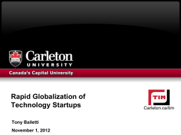 Rapid Globalization of Technology Startups