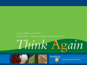 College Overview Presentation - College of Agricultural Sciences