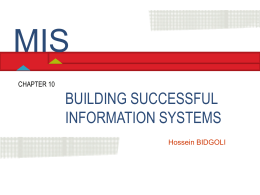 Chapter 10 Building Successful Information Systems
