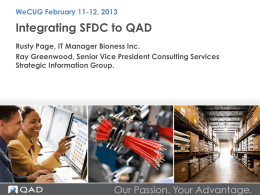 SalesForce.Com into QAD EE - QAD West Coast User Group