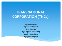 TRANSNATIONAL CORPORATION (TNCs)