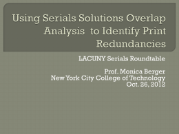 Using Serials Solutions Overlap Analysis to Identify