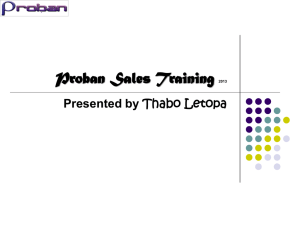Proban Sales Training 2013