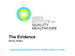 hypotheses generated - Leeds Institute for Quality Healthcare