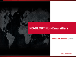 NO BLOK® Non-Emulsifiers Customer Presentation