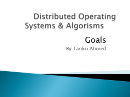 Distributed Operating Systems & Algorisms