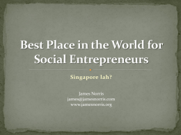 Best Place in the World for Social Entrepreneurs