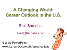 A Changing World - Career Outlook in the US
