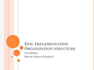Epic Implementation Organization structure