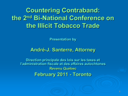 André Santerre - A Taxing Issue Public Health and Contraband