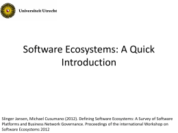Defining Software Ecosystems