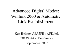 Advanced Digital Modes: Winlink 2000 & Automatic Link