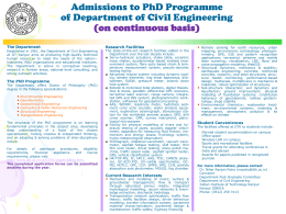 Admissions to Ph.D. Programme