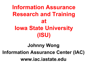 Information Assurance Research and Training at Iowa State University