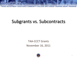 Subgrants v Subcontracts and How to Procure PDF