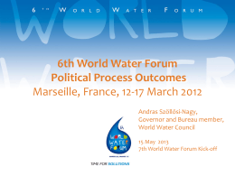 EN ATTENDANT LE FORUM… - 7th World Water Forum 2015